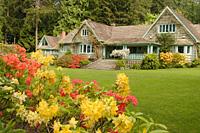 Azaleas and house, Milner Gardens