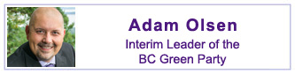 Adam Olsen, Interim Leader of the BC Green Party