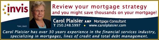 Carol Plaisier, Invis Mortgage Consultant, Tel. 250-248-5997